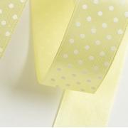 Лента атласная в горошек 2,5 см  (1 метр) бледно-жёлтый 081