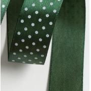 Лента атласная в горошек 2,5см  (1м) т.зелёный 074