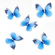 Бабочки шифоновые 3 см голубые, 1 шт.