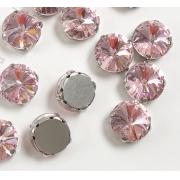 Стразы в цапах 14мм Круг (2 шт.) светло-розовые