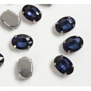 Стразы  в цапах стекло 14 мм Овал  (2 шт) т.синий
