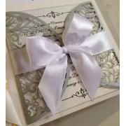 Свадебное приглашение резное серебро
