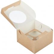 Коробка крафт с окном для 4 капкейков 16х16х10 см