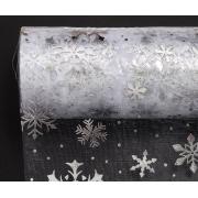 Фатин Снежинки ширина 15см (2 метра) белый/серебро