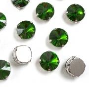 Стразы  в цапах стекло 14 мм Круг  (2 шт) зелёный
