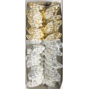 Бабочки декоративные 7,5 см на проволоке золото/серебро, 1 шт.