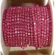 Стразовая лента (цепь) SS8 ярко-розовая, металл под цвет (1метр)