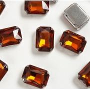Стразы  в цапах стекло 14 мм Прямоугольник  (2 шт) т.коричневый