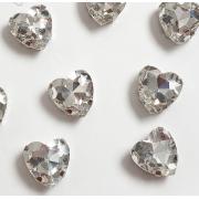 Стразы  в цапах стекло 12 мм Сердечко  (2 шт) серебро
