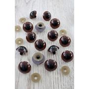 Глазки безопасные 30 мм винтовые с заглушками, темно-коричневый  (пара)