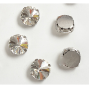 Стразы в цапах 12мм Круг (2 шт.) цвет серебро