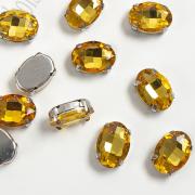 Стразы в цапах 14 мм Овал (2 шт) цвет золото