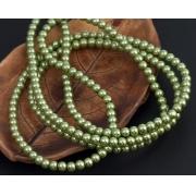 Бусины стекло имитация жемчуга 4мм (~220шт.) травянисто-зеленый