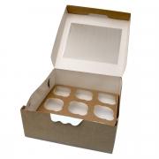 Упаковка крафт с окном для 9 маффинов 25х25х10см