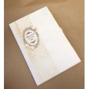 Папка для свидетельства о браке в тканевом переплете с кружевом