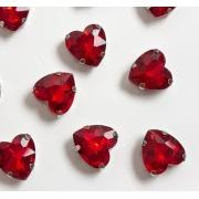 Стразы  в цапах стекло 12 мм Сердечко  (2 шт) красный 17