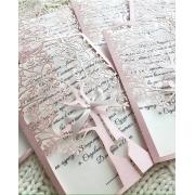 """Свадебное приглашение """"Резное дерево"""" розовое"""
