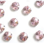 Стразы  в цапах стекло 12 мм Круг  (2 шт) св.розовый