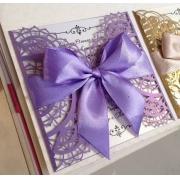 Свадебное приглашение резное фиолетовое