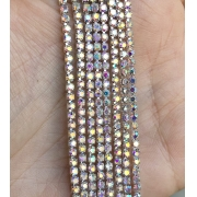 Стразовая лента (цепь) SS10 радужный/серебро  (1метр)