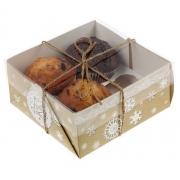 """Коробка для кексов """"Новогоднее кружево"""" 16х16х7.5см"""