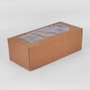 Коробка сборная  крафт с окном 16х35х12 см