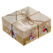 """Коробка для кексов """"Снегири"""" 16х16х7.5см"""