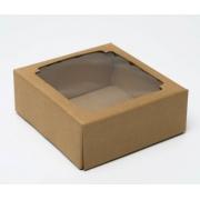 Коробка сборная  крафт с окном 14,5х14,5х6 см