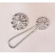 Застежка декоративная для одежды 9.5х3см серебристый