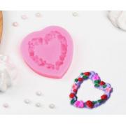 """Молд силиконовый 7х7х1,3 см """"Сердце в розочках"""""""