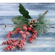 """Декоративный букетик """"Зимние грезы"""" ягоды, шишки в инее"""