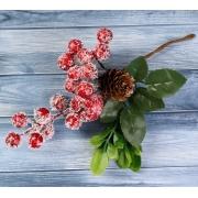 """Декоративный букетик """"Зимние грезы"""" ягоды в инее, шишка, листья"""