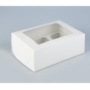 Коробка для 6 капкейков с окном 25х17х10см