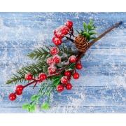 """Декоративный букетик """"Зимние грезы"""" ягоды в инее, шишка, листья, хвоя"""