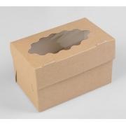 Коробка крафт для 2 капкейков 10х16х10см