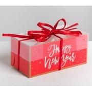 """Коробка для 2 капкейков """"Happy new year"""" 8х16х7.5см"""