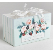 "Коробка для 2 капкейков ""Happy holidays"" 8х16х10см"