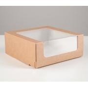 Короб крафт для торта с окном 18х18х7см
