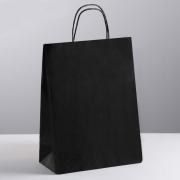 """Пакет крафт """"Радуга"""" черный с черными ручками 25х11х32 см"""