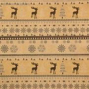 """Бумага крафт """"Скандинавские олени"""" бело-коричневая 50х70 см"""