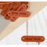 Набор нашивок из экокожи «Hand made», 4,5х1,3 см, 10 шт