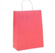 Пакет крафт с ручками 25х32х11 см розовый