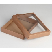 Коробка без печати крафт с окном 26х21х4см