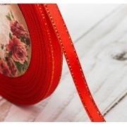 Лента атласная с металлизированной нитью AL-6M 6мм красный/золото (5метров)