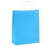 Пакет крафт с ручками 25х32х11 см голубой