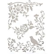 """Трафарет """"Птица в розовом саду"""" 21х31см"""