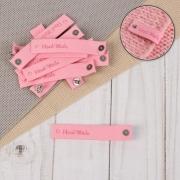 """Бирка из экокожи с кобурной кнопкой """"Hand made"""" 8х1,5 см розовая"""