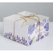 """Коробка для 4 капкейков """"Самой прекрасной. Лаванда прованс"""" 16х16х10 см"""