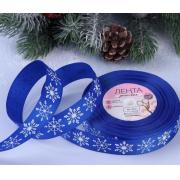 Лента декоративная репсовая «Снежинки», 25 мм (1 метр) синий/белый