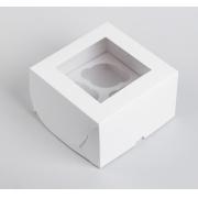 Коробка с окном для 4 капкейков 16х16х10 см